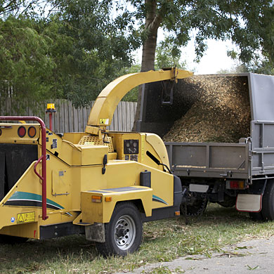 A wood chipper is available for rent from Kildonan Tree Service in Wininpeg.